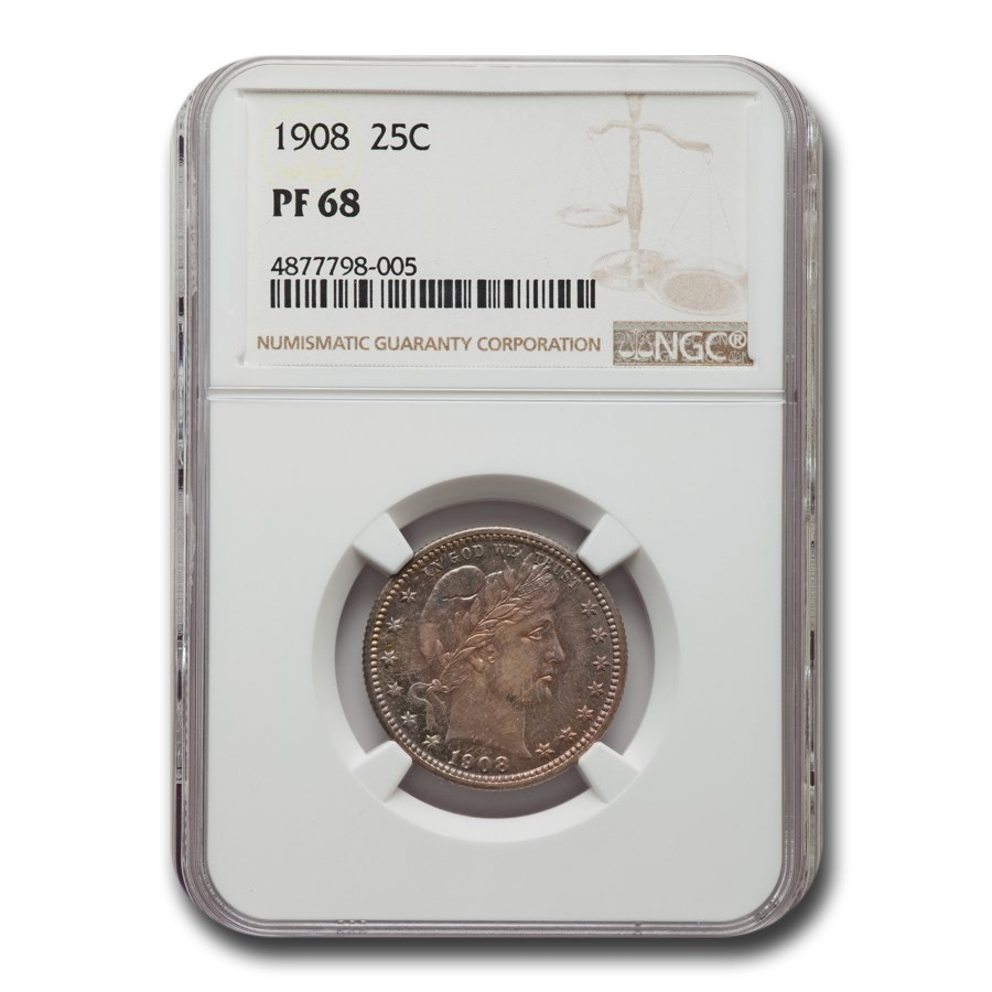 1908 Barber Quarter PF-68 NGC