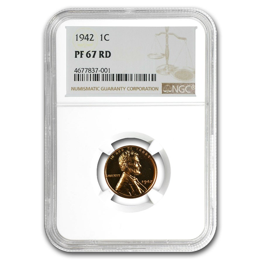 1942 Lincoln Cent PF-67 NGC (Red)