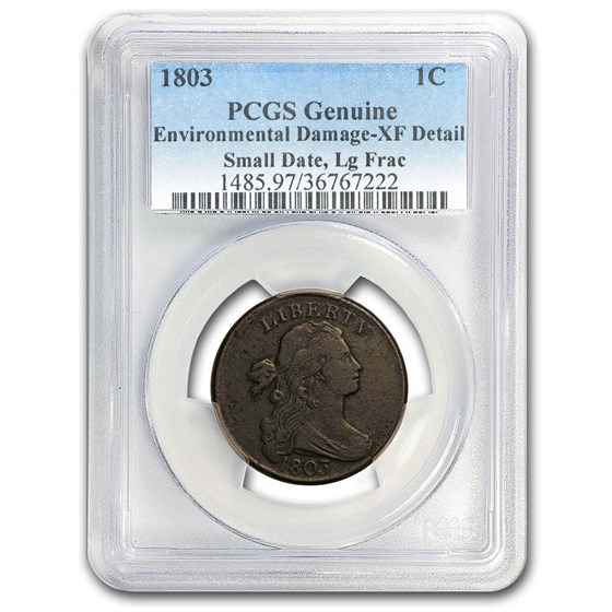 1803 Large Cent Sm Date, Lg Fraction Genuine XF Details PCGS