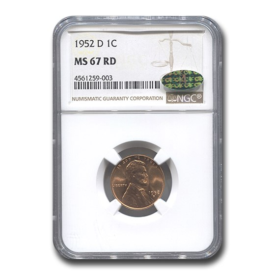 1952-D Lincoln Cent MS-67 NGC CAC (Red)