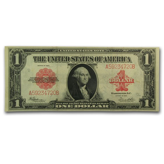 1923 $1.00 United States Note Red Seal VF+