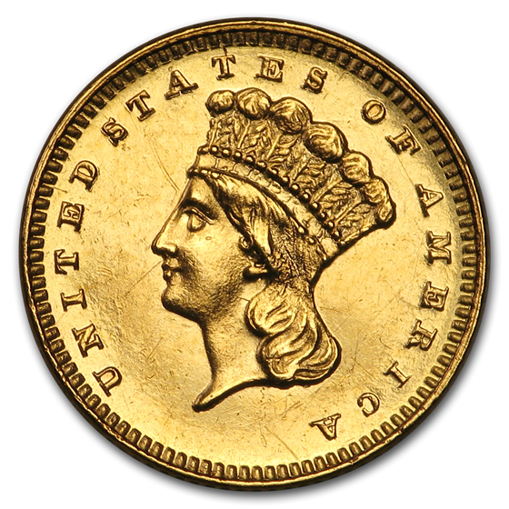 1886 $1 Indian Head Gold Type 3 AU