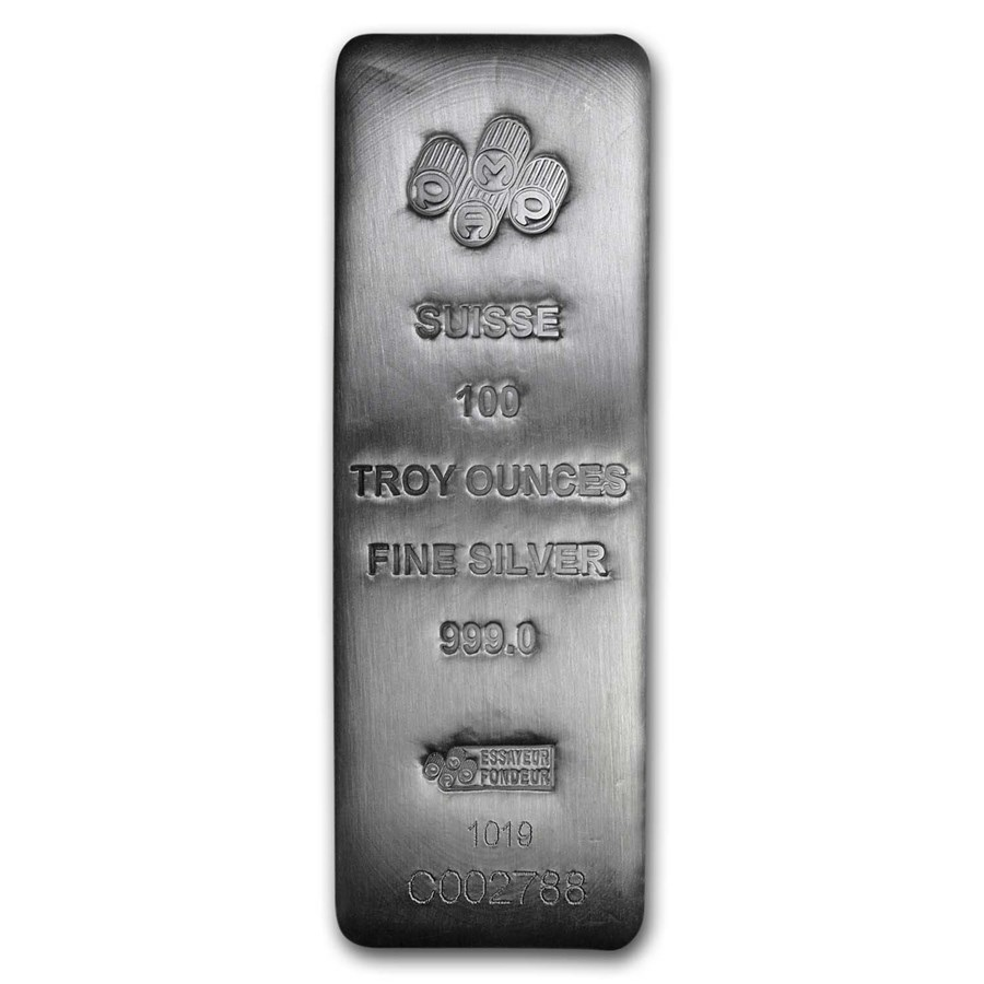 100 oz Silver Bar - PAMP Suisse (Serialized)
