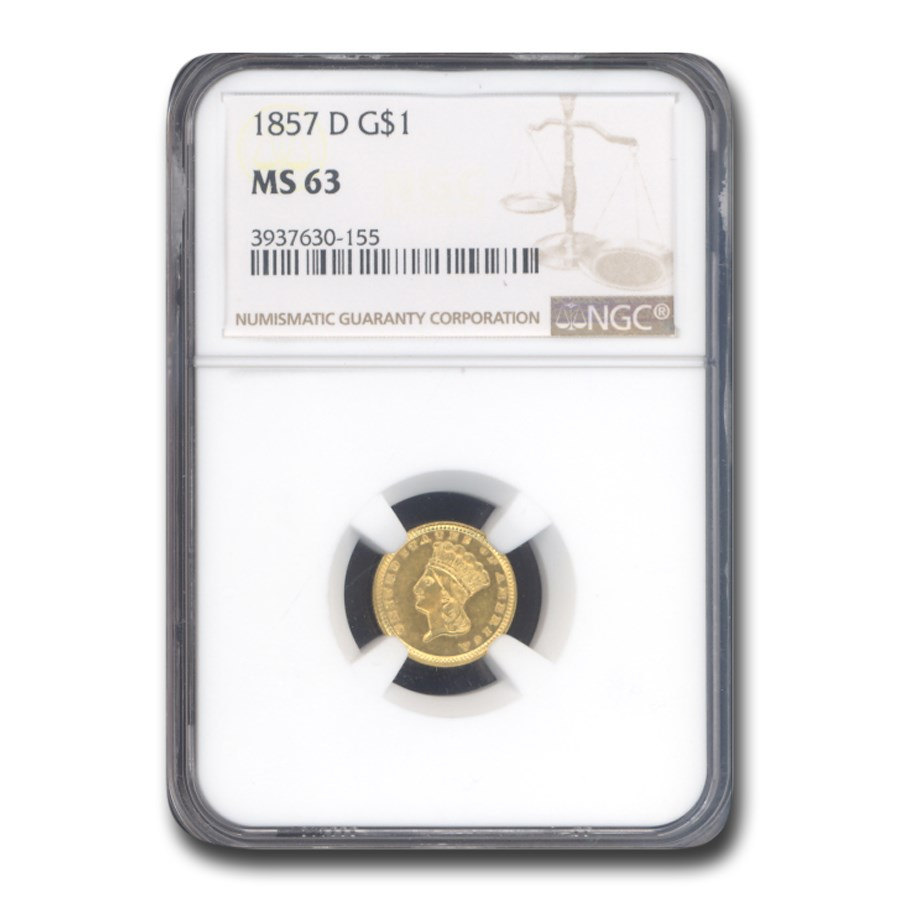 1857-D $1 Indian Head Gold MS-63 NGC