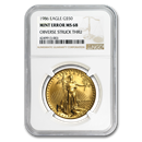 1986 1 oz Gold Eagle MS-68 NGC (Error, Struck Thru, Retained)
