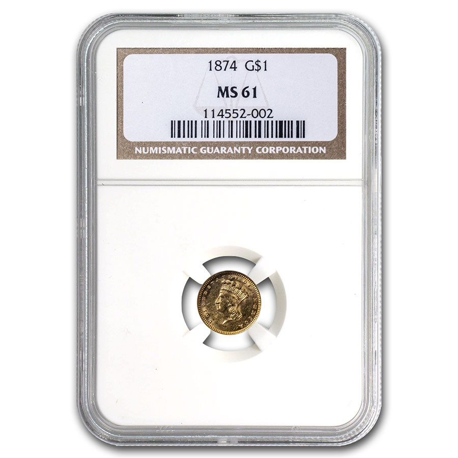 1874 $1 Indian Head Gold MS-61 NGC