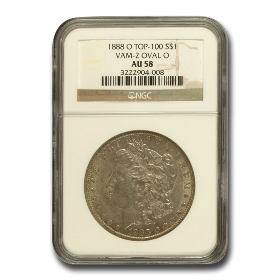 1888-O Morgan Dollar AU-58 NGC (VAM-2, Oval O, Top-100)