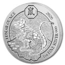 2020 Rwanda 1 oz Silver Lunar Year of the Rat BU