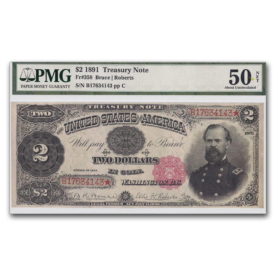 1891 $2.00 Treasury Note General James McPherson AU-50 PMG (Net)