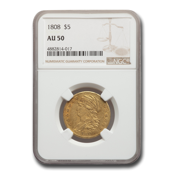 1808 $5 Capped Bust Gold Half Eagle AU-50 NGC