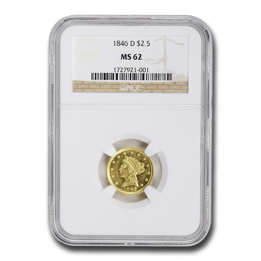 1846-D $2.50 Liberty Gold Quarter Eagle MS-62 NGC