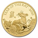 2020 Great Britain 1 oz Gold Year of the Rat Proof (Box & COA)
