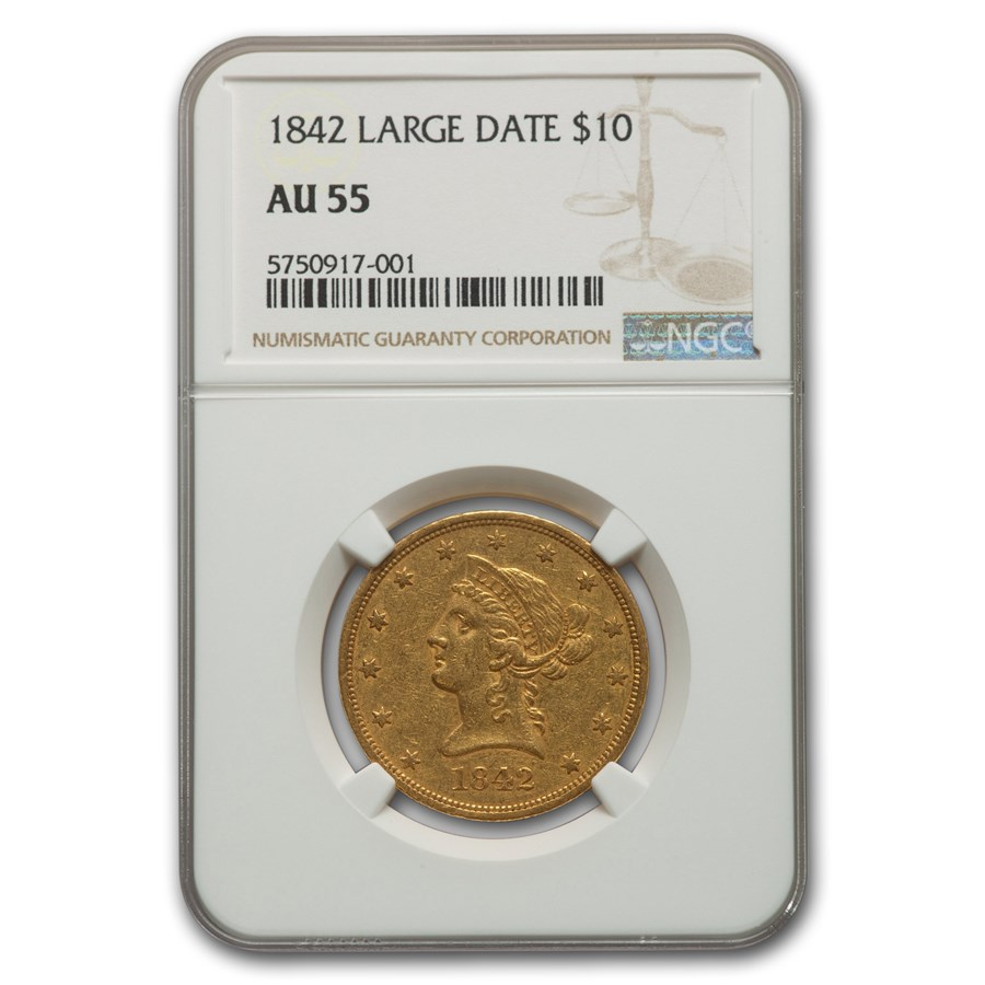 1842 $10 Liberty Gold Eagle AU-55 NGC (Large Date)