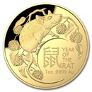2020 Australia 1 oz Gold $100 Lunar Year of the Rat Domed Proof