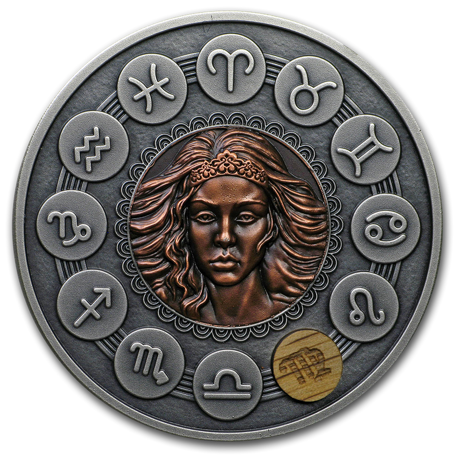 2019 Niue 1 oz Antique Silver Zodiac Signs: Virgo