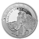 2019 Republic of Ghana 1 oz Silver Woolly Mammoth BU