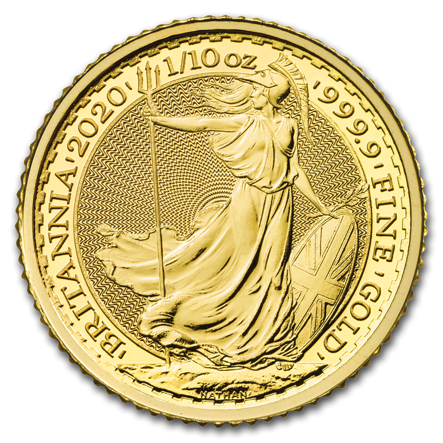 2020 Great Britain 1/10 oz Gold Britannia BU Coin