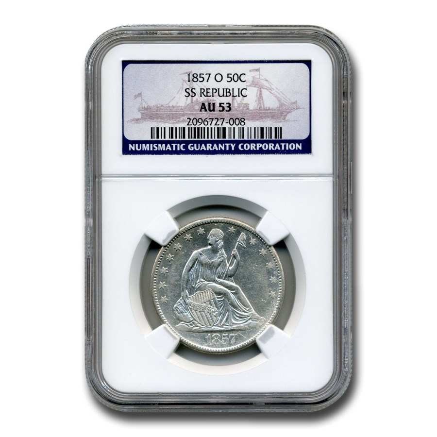 1857-O Liberty Seated Half Dollar AU-53 NGC (SS Republic)