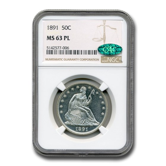 1891 Liberty Seated Half Dollar MS-63 NGC CAC (PL)