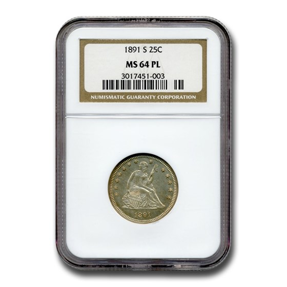1891-S Liberty Seated Quarter MS-64 NGC (PL)