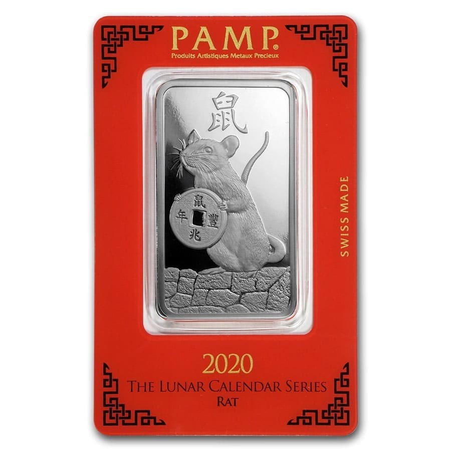 1 oz Silver Bar - PAMP Suisse (Year of the Rat)