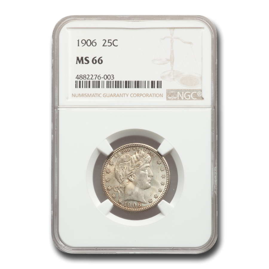1906 Barber Quarter MS-66 NGC
