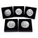 2017-P 5-Coin 5 oz Silver Burnished ATB Set (w/Box & COA)