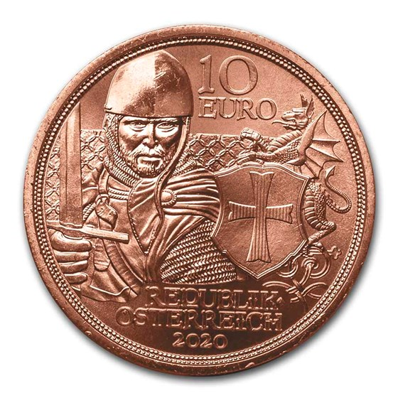 2020 Austria Copper €10 Knights' Tales (Courage)