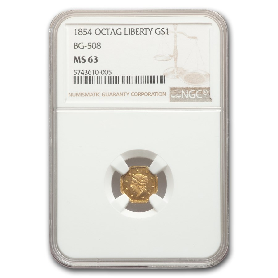 1854 Liberty Octagonal One Dollar Gold MS-63 NGC (BG-508)