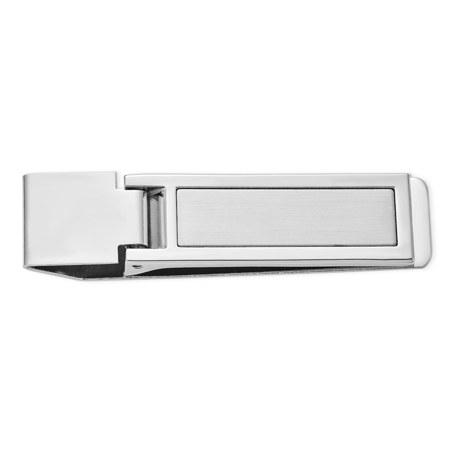 Silver-tone Hinged Money Clip - 3 in.