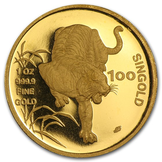 1986 Singapore 1 oz Gold 100 Singold Tiger BU