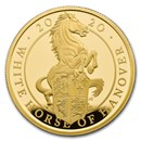 2020 GB 1 oz Gold Queen's Beasts White Horse Proof (w/Box & COA)