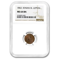 1862 Ionian Islands Lepton MS-64 NGC (Brown)