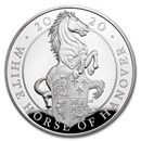 2020 GB Proof 5 oz Silver Queen's Beasts White Horse (Box & COA)