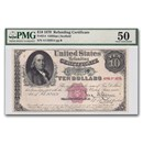 1879 $10.00 United States Refunding Certificate AU-50 PMG