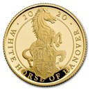 2020 GB 1/4 oz Gold Queen's Beasts White Horse Proof (Box & COA)