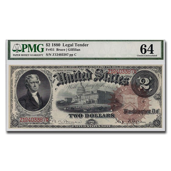 1880 $2.00 Legal Tender Jefferson CU-64 PMG