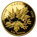 2020 Canada $500 5 oz Proof Gold Splendid Maple Leaves