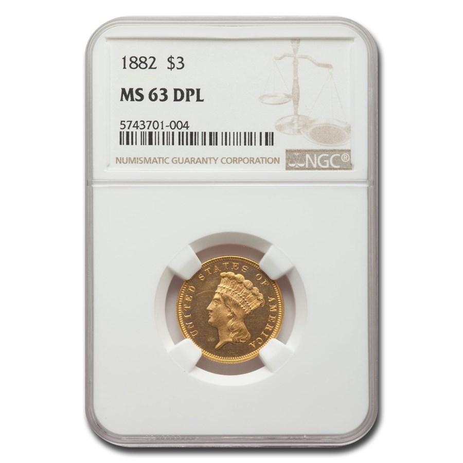 1882 $3 Gold Princess MS-63 NGC (DPL)