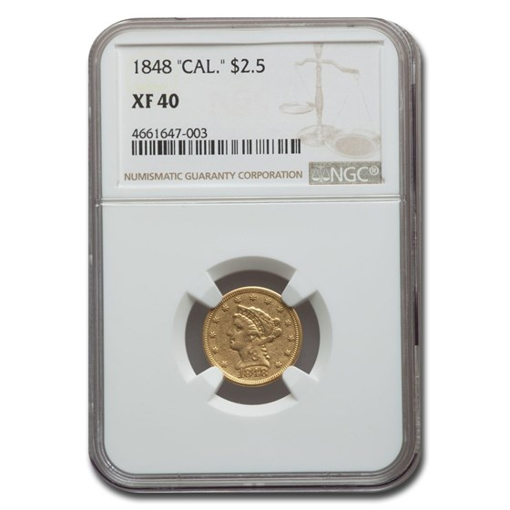 1848 $2.50 Liberty Gold Quarter Eagle XF-40 NGC (CAL.)