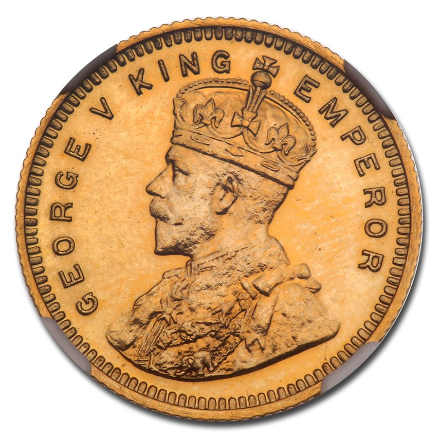 1918 India-British Gold 15 Rupees George V PF-63 NGC (Restrike)