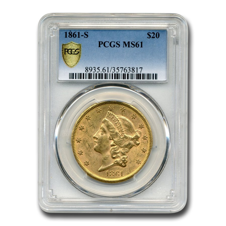 1861-S $20 Liberty Gold Double Eagle MS-61 PCGS