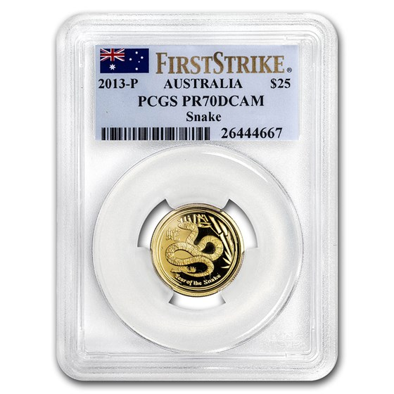 2013 1/4 oz Gold Lunar Year of the Snake PR-70 PCGS (SII, FS)