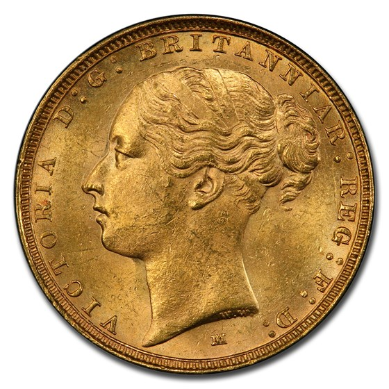 1885-M Australia Gold Sovereign Young Victoria MS-64+ PCGS
