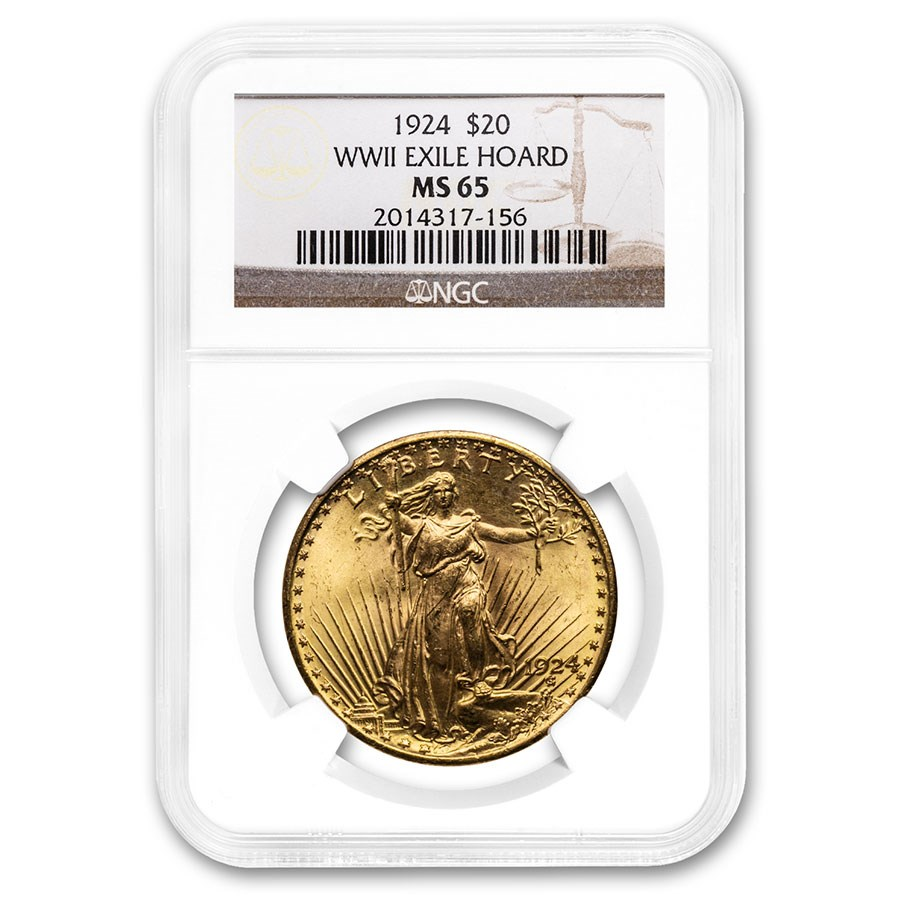 1924 $20 Saint-Gaudens Gold Double Eagle MS-65 NGC (WWII Exile)