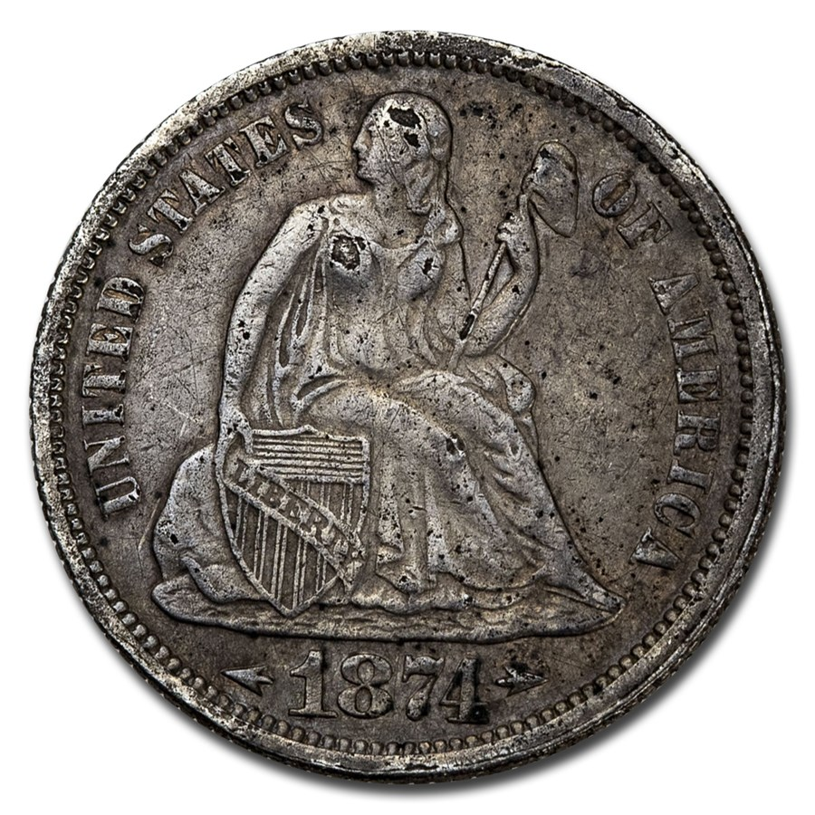 1874 Liberty Seated Dime XF (Details)