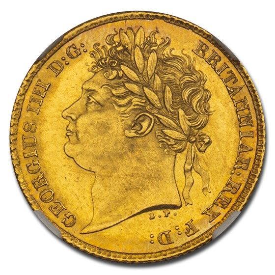 1825 Great Britain Gold Half Sovereign George IV MS-64 NGC