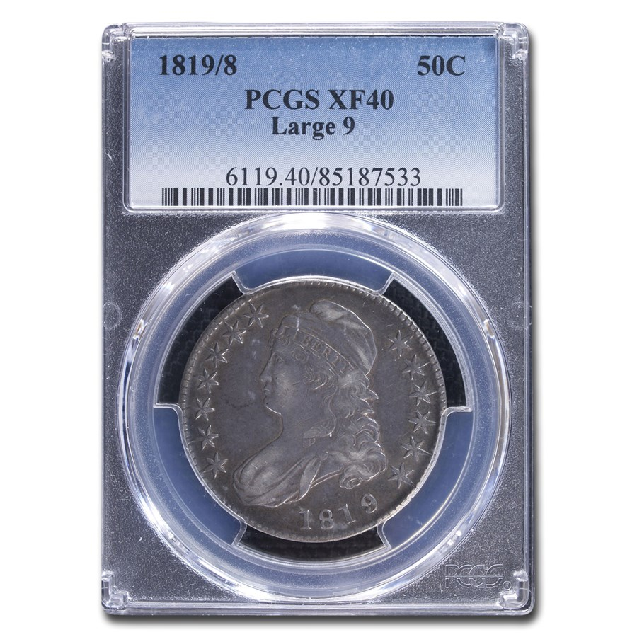 1819/8 Capped Bust Half Dollar XF-40 PCGS (Large 9)