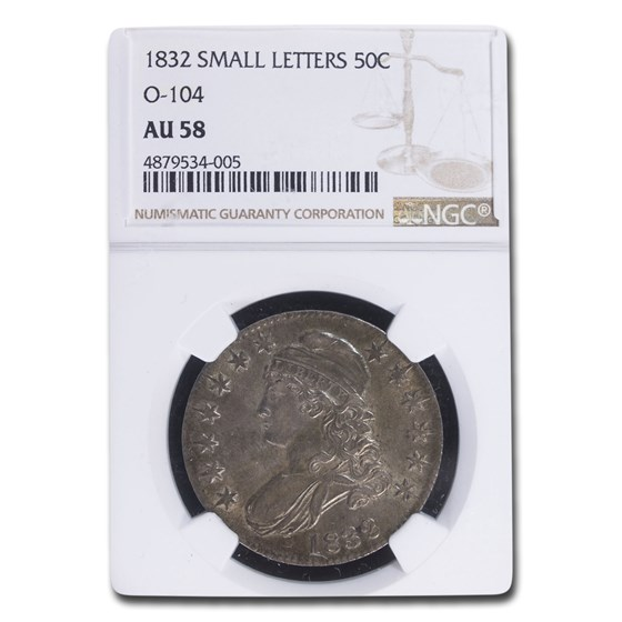 1832 Capped Bust Half Dollar AU-58 NGC (Small Letters, O-104)
