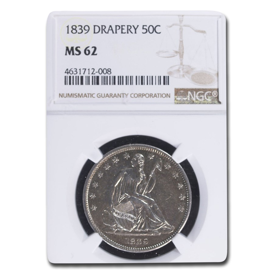 1839 Liberty Seated Half Dollar MS-62 NGC (Drapery)